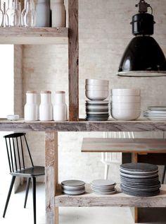 Rustic, # open shelves