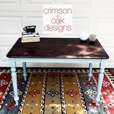 crimson + oak designs :: small farmhouse table with top refinished using General Finishes Java Gel Stain and painted with Annie Sloan Duck Egg chalk paint.