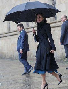 Queen Letizia Carolina Herrera belted A-line coat