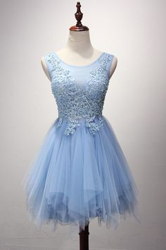 Cute Prom Dress,Tulle Homecoming Dress,Appliques Graduation Dress,Short Prom