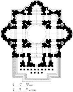 Michelangelo. Plan, St. Peter's. Rome 1546  #architecture #michelangelo