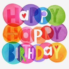 Margaret Berg : birthday Auf margaretbergart.com http://www.pinterest.com/jammydots/lettering-kids/ #compartirvideos #felizcumple #imagenesdivertidas