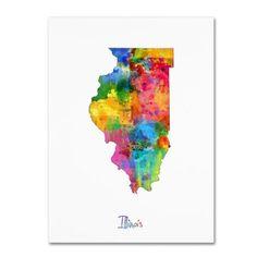 Trademark Fine Art Illinois Map Canvas Art by Michael Tompsett, Size: 24 x 32, Multicolor