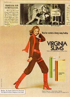 Cheryl Tiegs for Virginia Slims Cigarettes ad 1975 promising vaudevillians Retro Ads, Vintage Advertisements, Vintage Ads, Laetitia Casta, Natalia Vodianova, Lily Aldridge, Claudia Schiffer, Cindy Crawford, Heidi Klum