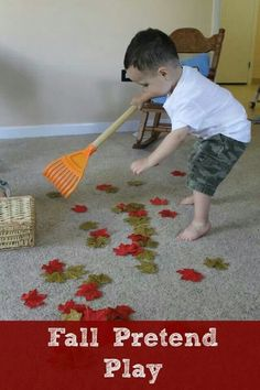 Pretend raking  leaves up