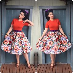 """OOTD Top and headscarf - @tatyanaboutique  Skirt- @swonderfulboutique  Shoes- @baitfootwear  Belt- @pinupgirlclothing  #missvictoryviolet…"""