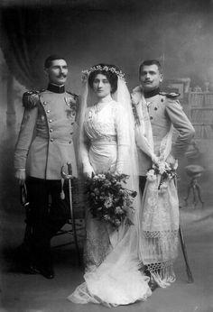 Wedding photo of Danica Paligorić and Nikola Jorgovanović, an infantry major, with a groomsman; The Kingdom of Serbia, Niš, 1911.