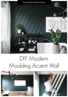 board and batten wall Gorgeous Modern Moulding Accent Wall! Make your own stunning feature wall with some mouldings, a few tools, and this simple DIY tutorial! Feature Wall Living Room, Accent Walls In Living Room, Accent Wall Bedroom, Dining Room Walls, Living Room Interior, Living Room Decor, Feature Walls, Interior Livingroom, Diy Feature Wall Ideas