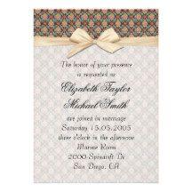 Luxury Fancy Floral Damask Ribbon Wedding Invite