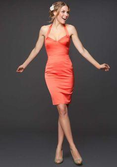 Buy Bebe Seam Halter Satin Dress – Living Coral and Wear It!