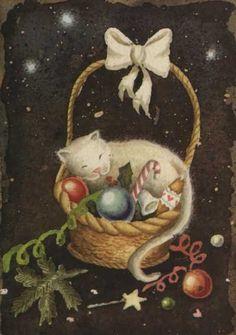 Katja Saario Christmas Tale, Christmas Ornaments, Christmas Illustration, Holiday Decor, Artist, Heaven, Painting, Sky, Christmas Jewelry