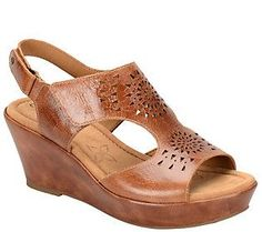 Comfortiva by Softspots Leather Wedge Sandals -Rainer