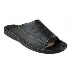 Herren Hausschuhe Leder Pantoletten Latschen M37b, Farbe: Schwarz, Größe: 46 - http://on-line-kaufen.de/janex/46-eu-herren-hausschuhe-leder-pantoletten-m37b