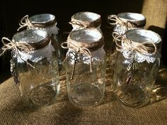 6 Mason Jars for Rustic Vintage Wedding Decorations Candles or Flowers | eBay