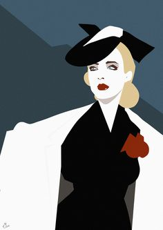 1940s #vector #girl #vintage #bold #art #1940s #1950s #fashion