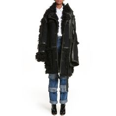Women's Y/project Genuine Shearling Coat ($3,220) ❤ liked on Polyvore featuring outerwear, coats, noir, shearling coat, gothic coat, goth coat and sheep fur coat