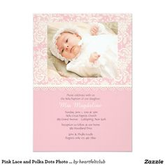 Pink Lace and Polka Dots Photo Invitation