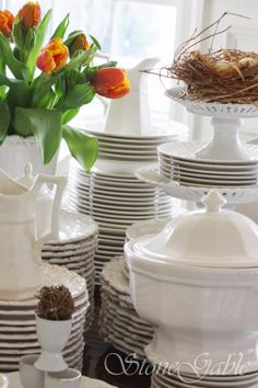 white dishes are a blank canvas...