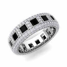 Pave Diamond and Princess Cut Black Diamond Eternity Band in 14k Gold, 6mm