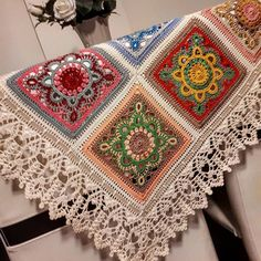 Image may contain: indoor Crochet Square Patterns, Crochet Blocks, Crochet Squares, Crochet Granny, Crochet Blanket Patterns, Crochet Motif, Crochet Designs, Crochet Doilies, Crochet Flowers