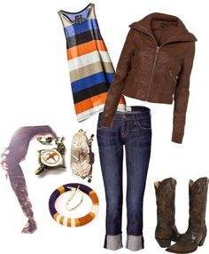 Blue, Orange and Brown, created by hayleejade3 on Polyvore