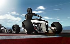 Roadcarver, a four wheeled motorcycle with a special steering concept inspired by the BMW Streetcarver Skateboard.