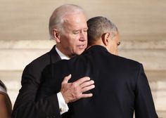 President Barack Obama hugs Vice President Joe Biden during funeral services for Biden's son, Beau Biden, Saturday, June at St. Anthony of Padua Church in Wilmington, Delaware - Yuri Gripas/Pool Photo via AP.