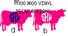 Cow Vinyl Decal with Monogram by SLMonograms on Etsy