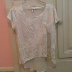 Sheer white and silver leopard print top Sheer white and silver leopard print top Love Rocks Tops