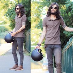 Marc By Marc Jacobs Brown Polo, H Brown Boots, Cheap Monday Grey Slim Pants, Biltwell Black Hemlet, Ray Ban Black Glasses