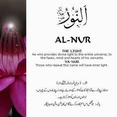 The 99 Beautiful Names of Allah with Urdu and English Meanings: AL-NUR Duaa Islam, Allah Islam, Islam Quran, Islam Hadith, Allah Quotes, Muslim Quotes, Quran Quotes, Hindi Quotes, Islamic Inspirational Quotes