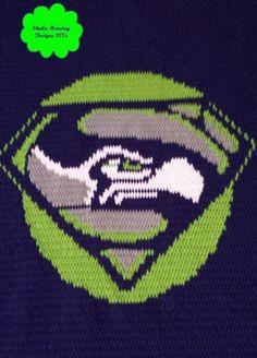 (4) Name: 'Crocheting : Seahawks Inspired 'Superhawk' Blanket