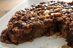 Banana-Macadamia Nut Upside-Down Cake Spiked with Dark Rum