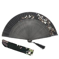 """OMyTea® """"Black Melody"""" 8.27""""(21cm) Women Silk Hand Held Folding Fans with Bamboo Frame - With a Fabric Sleeve for Protection for Gifts - Chinese / Japanese Vintage Retro Style (Sakura)"""