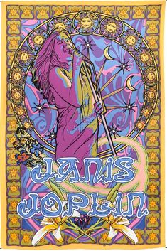This ravishing wall hanging, tablecloth, tapestry or beach sheet features Janis Joplin in the center with her name written in bold letters at the bottom in beautiful and vibrant shades of yellow, purp Janis Joplin, Bohemian Tapestry, Hippie Bohemian, Wall Tapestry, Tapestry Beach, Hippie Art, Celtic Mandala, Band Posters, Music Posters
