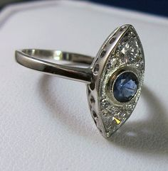 Art Deco Antique 14k Navette Shaped Diamond Sapphire
