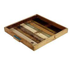 Bandeja en en madera de teca reciclada - 50x46 cm
