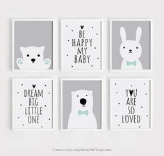 Printable Nursery wall Art Set of 6 Poster Baby Girl Boy room Gray decor Bunny and Bear Quotes Digit Paper Crafting umfasst eine breite Spektrum von unterh Baby Wall Decor, Baby Girl Room Decor, Baby Room Themes, Baby Room Art, Kids Room Art, Boys Room Decor, Baby Art, Art Wall Kids, Nursery Wall Art