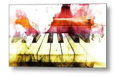 Watercolor Piano, Piano Photo, Piano Print, Music Photograph, Ivory Keys, Music Lover, musician teacher gift brown red abstract Classical
