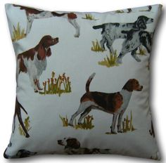 Designer Cushion Covers in Hounds Tan Hunting Dogs Brown Country Throw Pillows Brown Throw Pillows, Brown Cushions, Scatter Cushions, Brown Cushion Covers, Clarke And Clarke Fabric, Animal Cushions, Cushion Cover Designs, Prestigious Textiles, Decoration Home