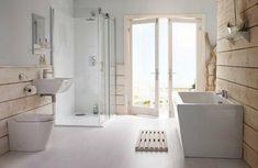 weißes-badezimmer-im-landhausstil- badewanne und duschkabine aus glas - Die Wohnung im Landhausstil einrichten – 30 super Ideen