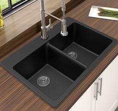 Buy Compare Winpro Black Granite Quartz Equal Double Bowl Dual Mount Sink from top home improvement retailers. Find great deals when buying bestselling double bowl sinks for your home. Drop In Kitchen Sink, Kitchen Sink Faucets, New Kitchen, Kitchen Decor, Awesome Kitchen, Narrow Kitchen, Kitchen Corner, Kitchen Colors, Kitchen Ideas