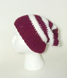 Purple Beanie Stripe Beanie  Crochet Hat by ShamisesBlissful