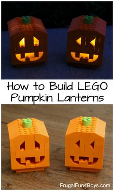 to Build Pumpkin Lanterns with LEGO Bricks How to Build Pumpkin Lanterns with LEGO Bricks - fun October building idea! Instructions in the post.How to Build Pumpkin Lanterns with LEGO Bricks - fun October building idea! Instructions in the post. Lego Halloween, Fall Halloween, Halloween Crafts, Halloween Pumpkins, Halloween Decorations, Halloween Party, Lego Duplo, Lego Moc, Lego Technic