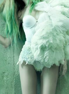 Green Ombre Hair, Lingerie and Tulle Beautiful Lips, Beautiful Lingerie, Green Hair, Blue Hair, Mint Color, Mint Green, Lace Lingerie, Color Me Mine, Svelte Sage