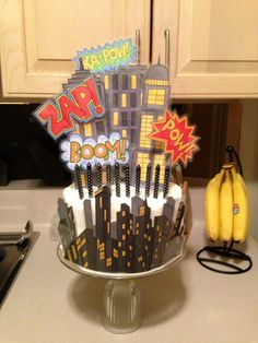 Comic Superhero Birthday Cake