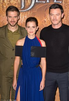(L-R) Actors Dan Stevens, Emma Watson and Luke Evans, who plays Gaston...