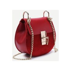 Red Horse Hair Covered PU Saddle Bag With Chain Strap ($27) ❤ liked on Polyvore featuring bags, handbags, shoulder bags, chain strap handbags, horse purse, chain handle purses, chain handle handbags and chain strap purse