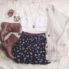 Sweater: skirt, tank top, jewels, combat boots, fall outfits ...