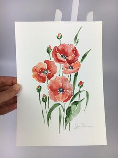 Items similar to Red poppies, original watercolor on hand-painted paper. Ideal to give away for your lover or your mother. Can match. on Etsy Watercolor Poppies, Watercolor Tips, Watercolor Cards, Red Poppies, Watercolour Painting, Painted Paper, Hand Painted, Tombow, Syria